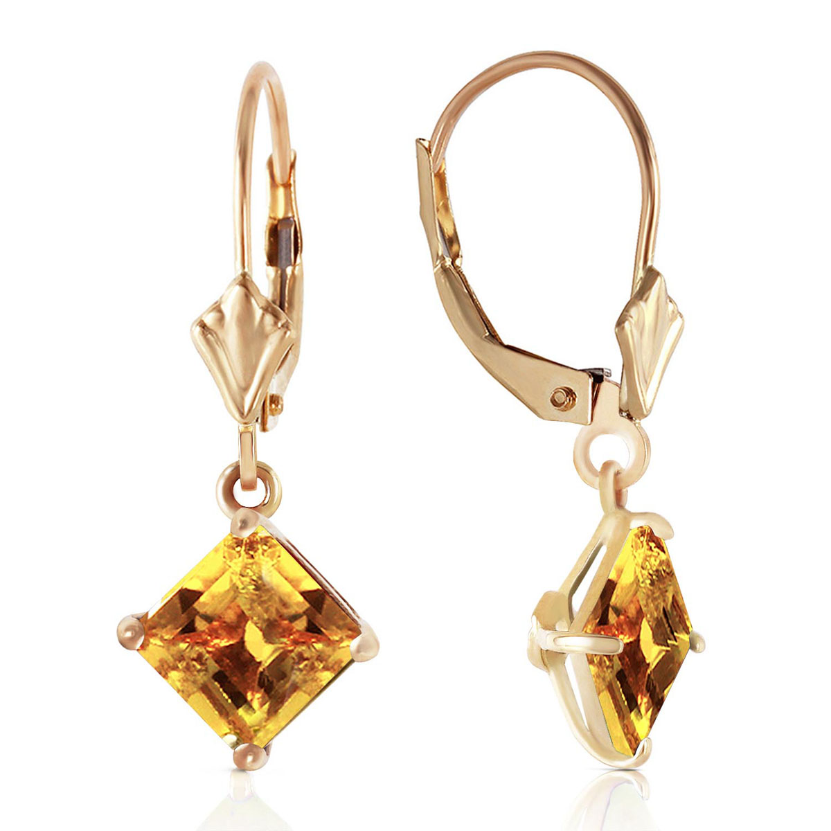 Citrine Drop Earrings 3.2 ctw in 9ct Gold