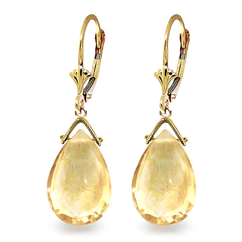 Citrine Droplet Earrings 10.2 ctw in 9ct Gold