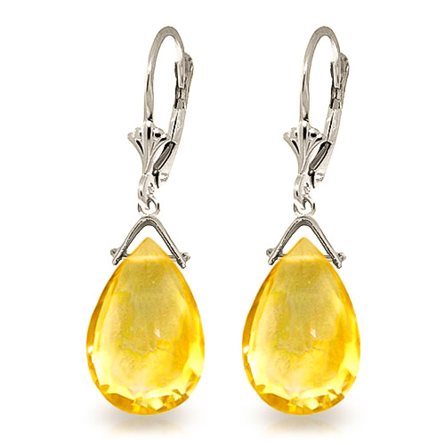 Citrine Droplet Earrings 10.2 ctw in 9ct White Gold