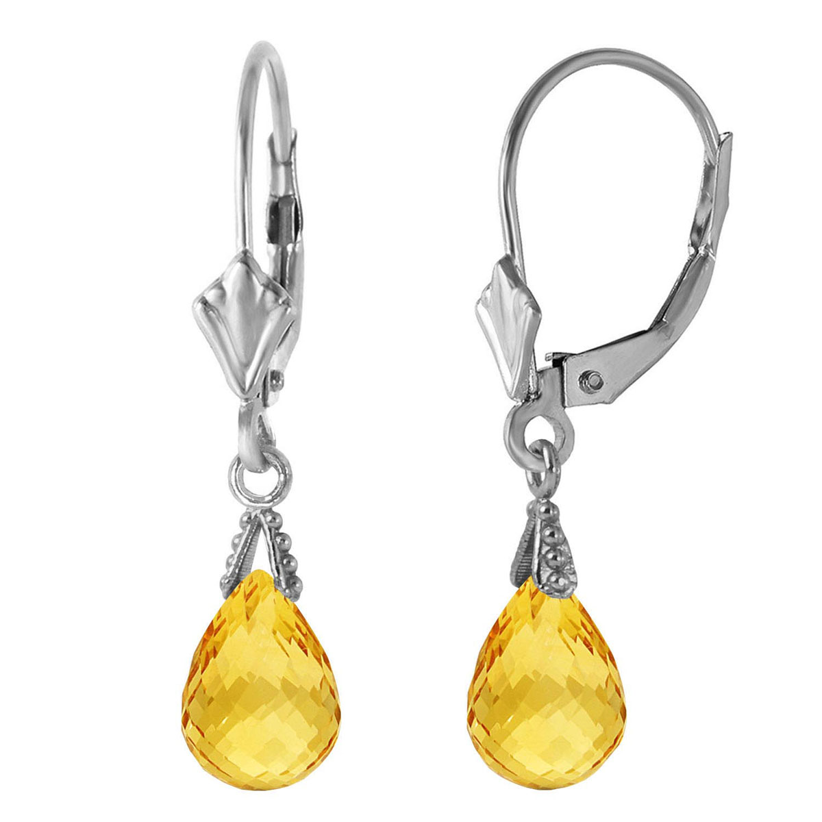 Citrine Droplet Earrings 2.5 ctw in 9ct White Gold