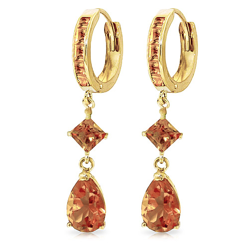 Citrine Droplet Huggie Earrings 5.62 ctw in 9ct Gold