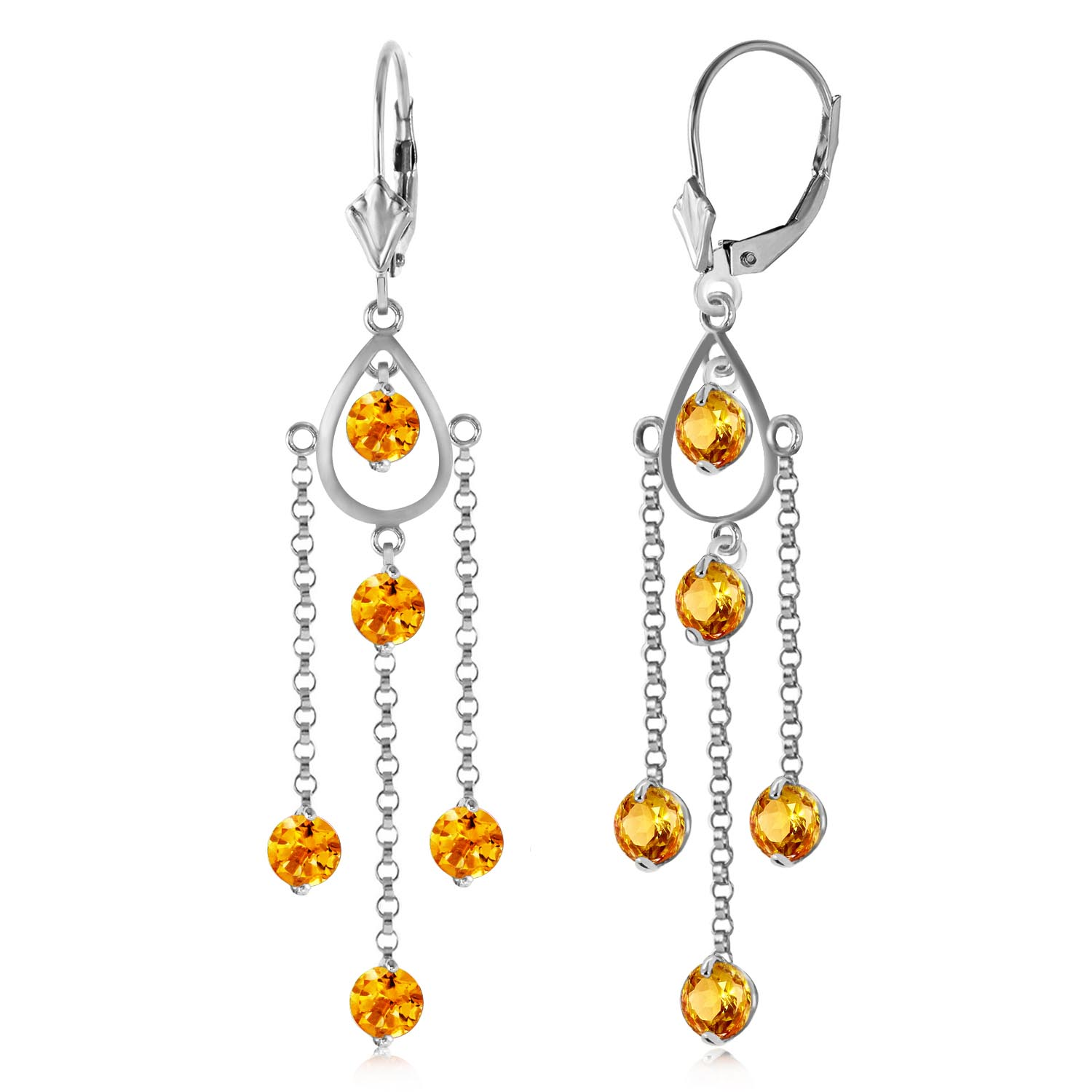 Citrine Faro Drop Earrings 3 ctw in 9ct White Gold