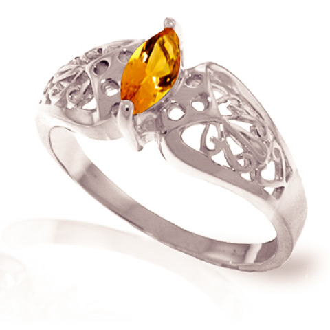 Citrine Filigree Ring 0.2 ct in 18ct White Gold