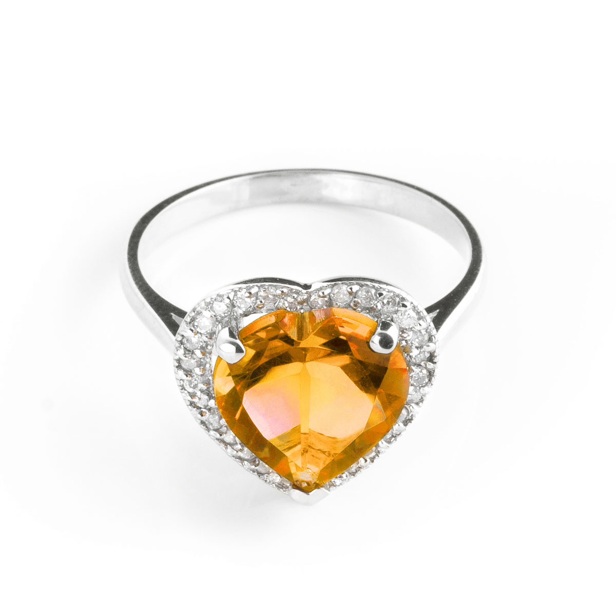 Citrine Halo Ring 3.24 ctw in 9ct White Gold