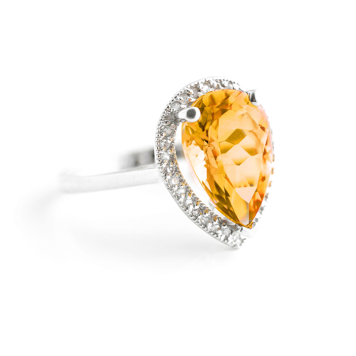 Citrine Halo Ring 3.41 ctw in 18ct White Gold