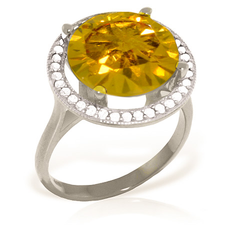 Citrine Halo Ring 6.2 ctw in 9ct White Gold