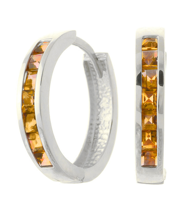 Citrine Huggie Earrings 1.2 ctw in 9ct White Gold