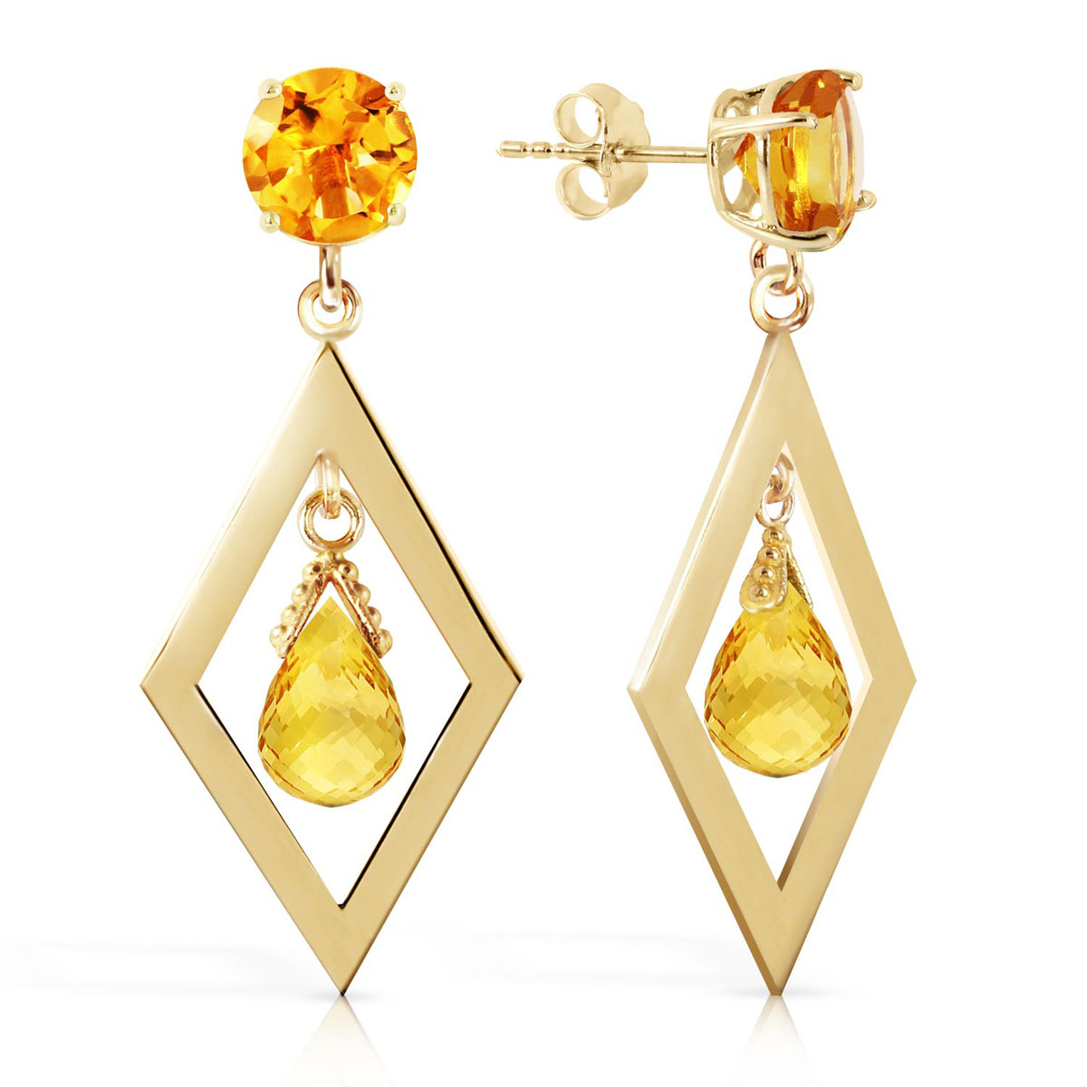 Citrine Kite Drop Earrings 2.4 ctw in 9ct Gold