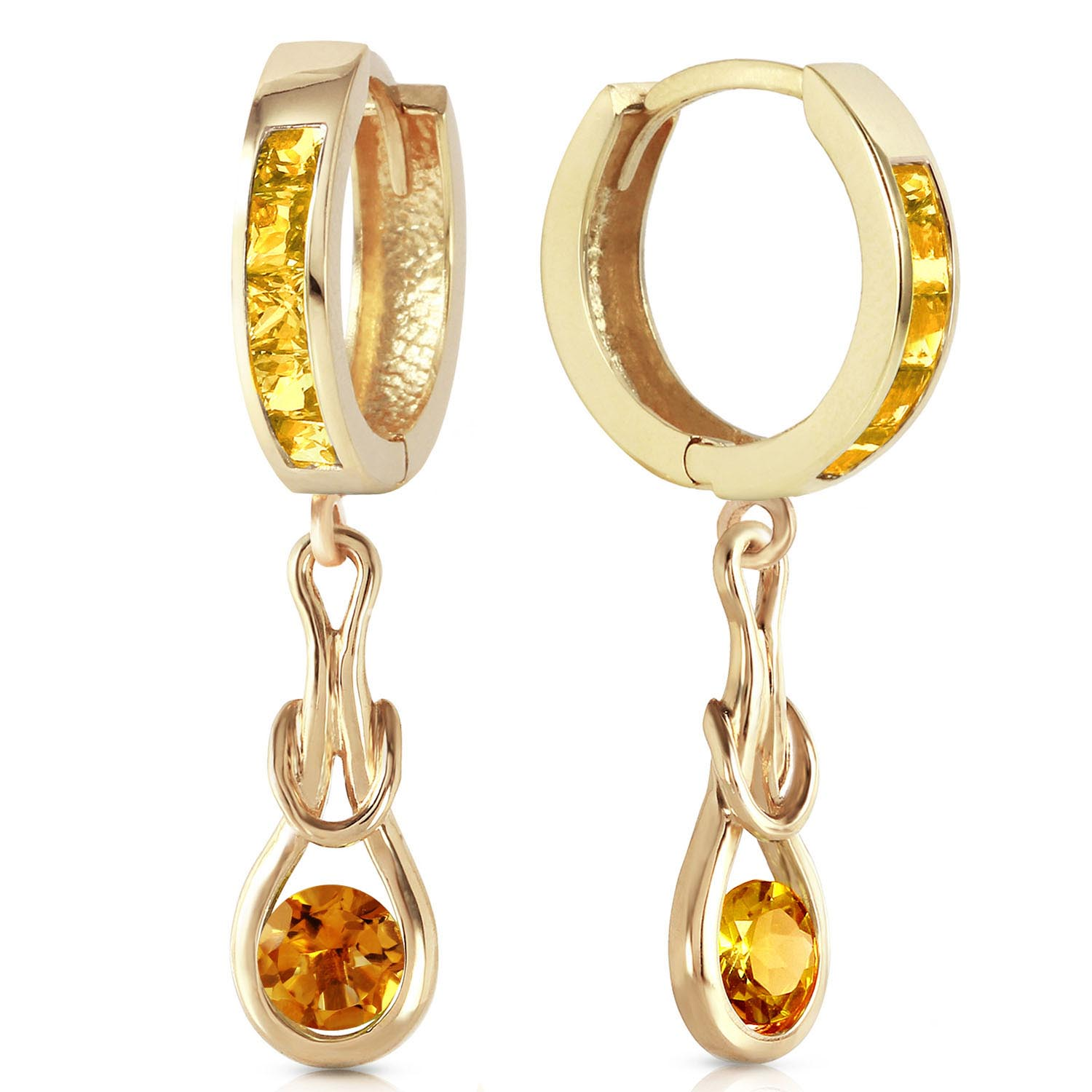 Citrine Loop Knot Huggie Earrings 0.7 ctw in 9ct Gold