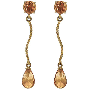 Citrine Lure Drop Earrings 4.3 ctw in 9ct Gold