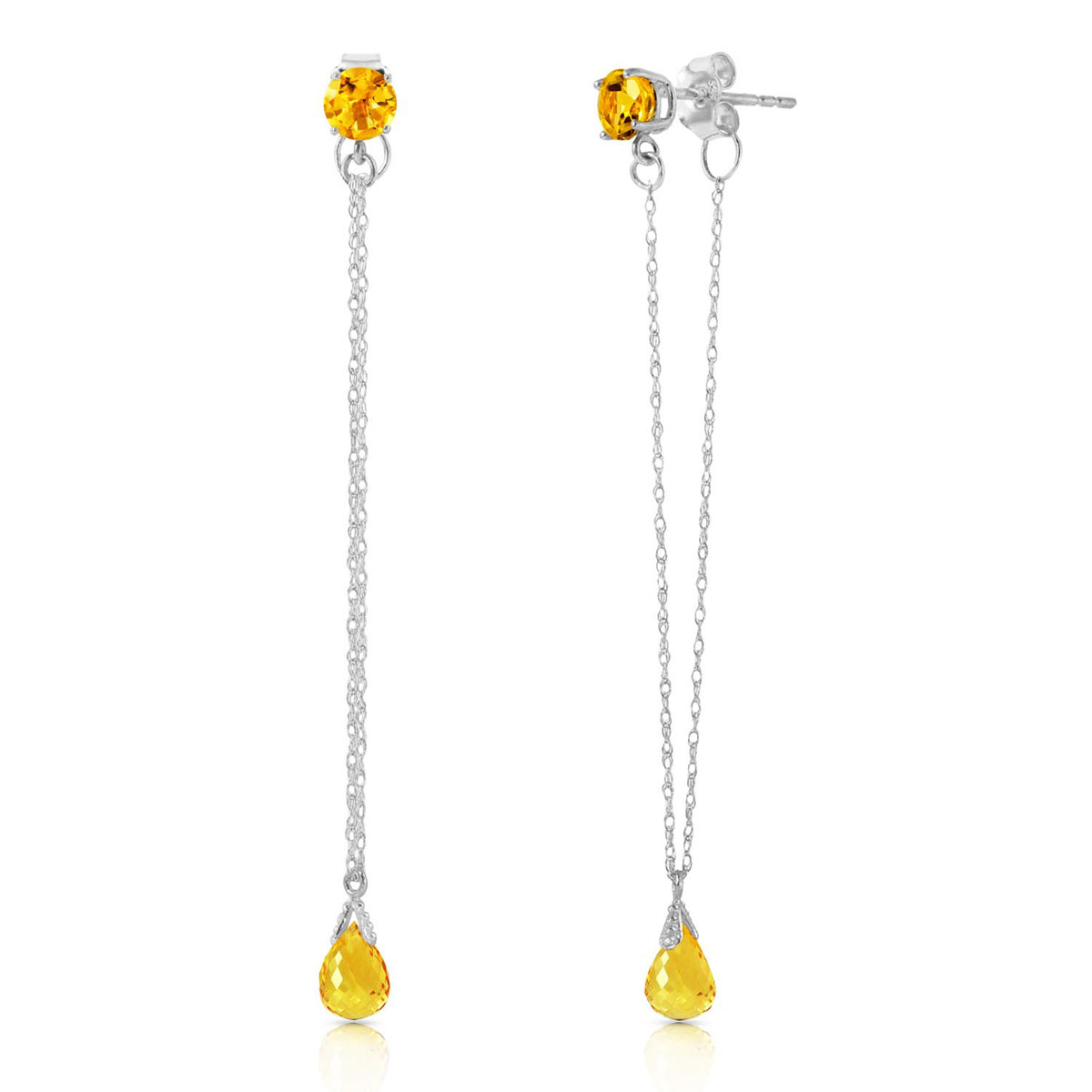 Citrine Monte Carlo Drop Earrings 3.15 ctw in 9ct White Gold