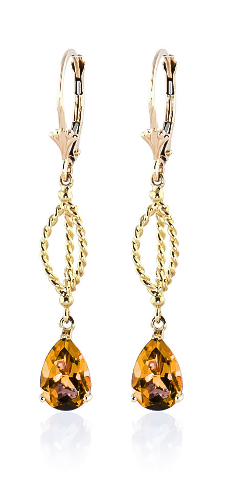 Citrine Sceptre Drop Earrings 3 ctw in 9ct Gold