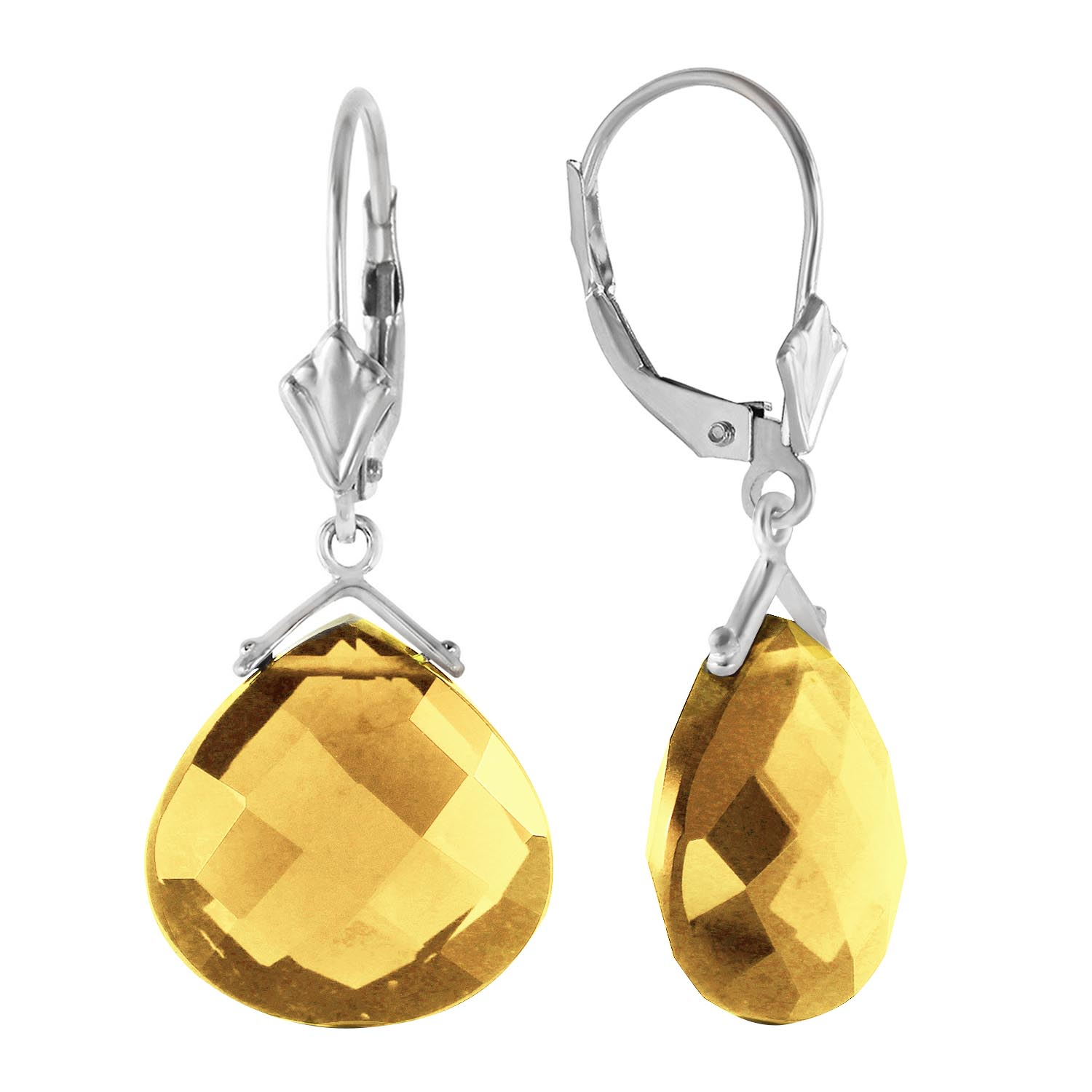 Citrine Star Drop Earrings 17 ctw in 9ct White Gold