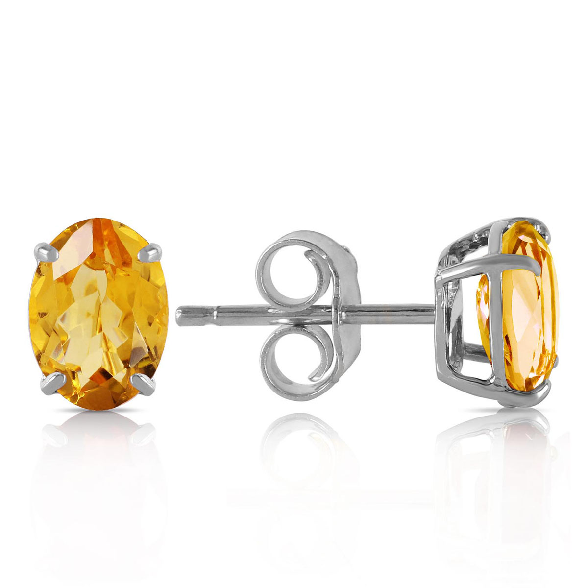 Citrine Stud Earrings 1.8 ctw in 9ct White Gold