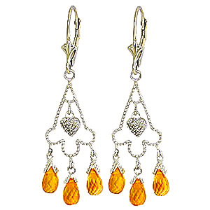 Citrine Trilogy Drop Earrings 4.23 ctw in 9ct White Gold
