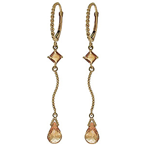Citrine Twist Drop Earrings 3.5 ctw in 9ct Gold
