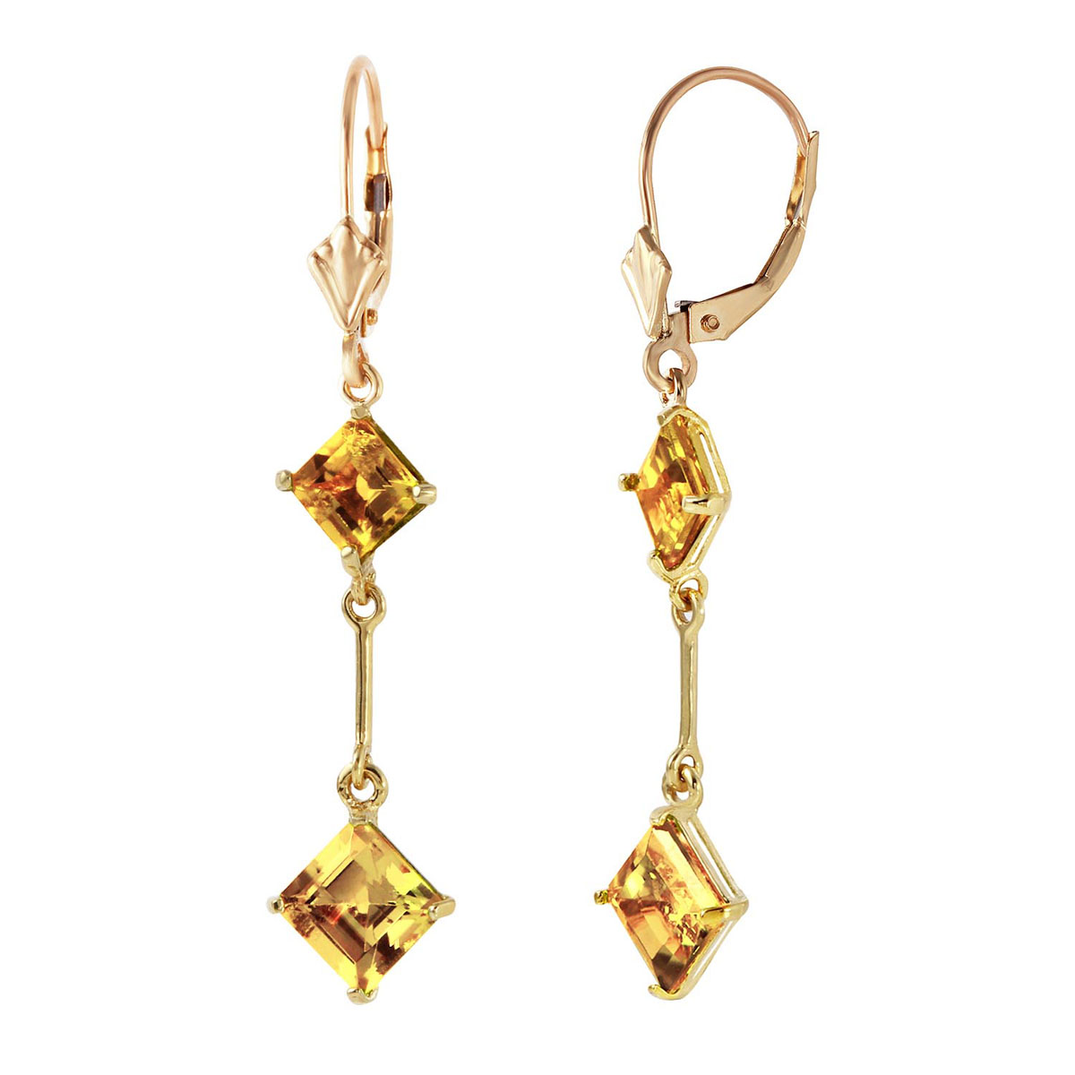 Citrine Two Tier Drop Earrings 3.75 ctw in 9ct Gold