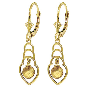 Citrine Wireframe Drop Earrings 1.25 ctw in 9ct Gold
