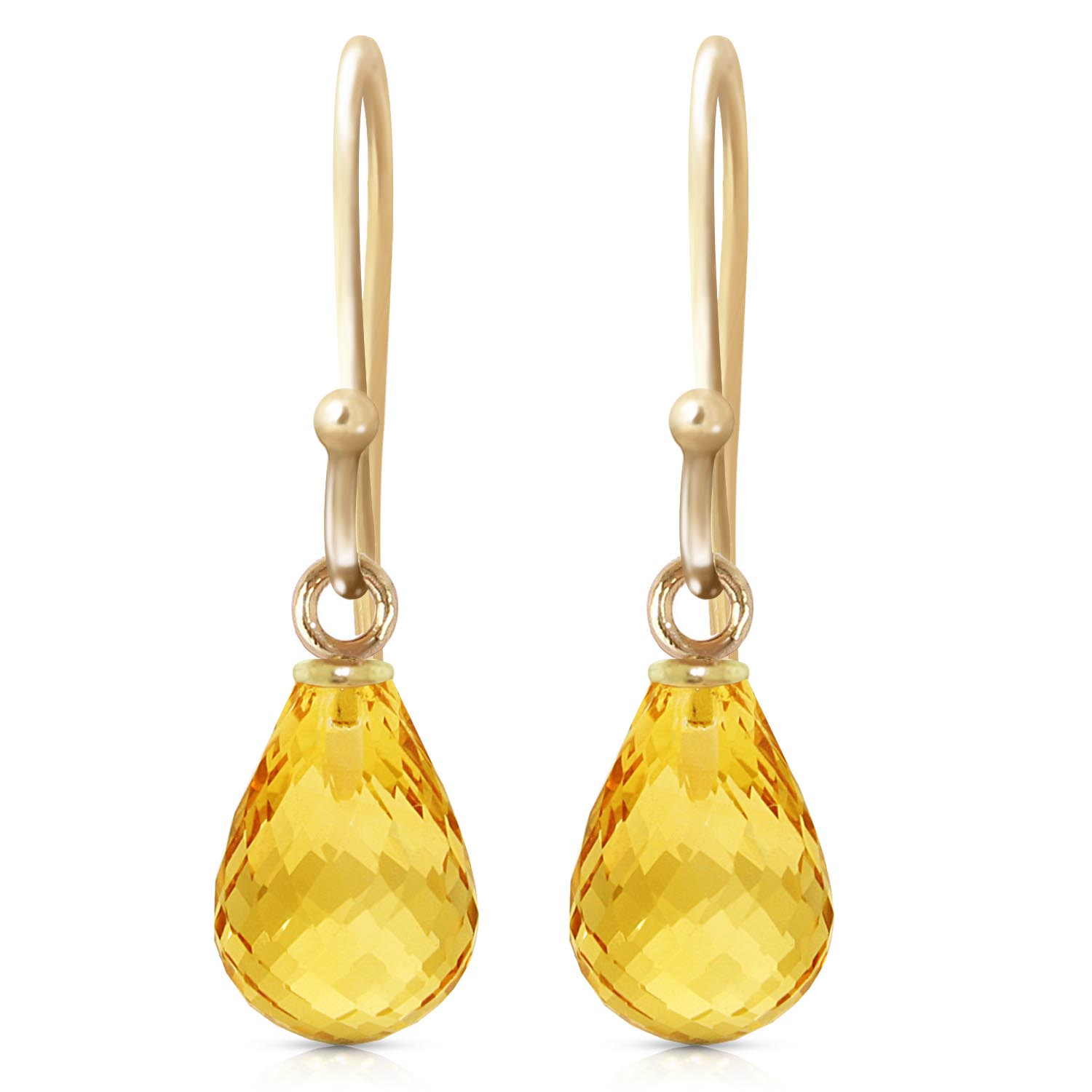Citrine Zeal Drop Earrings 2.7 ctw in 9ct Gold