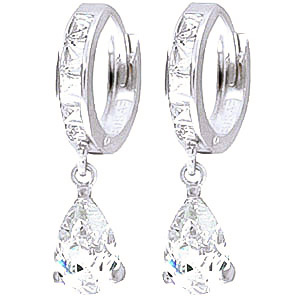 Image of Cubic Zirconia Droplet Huggie Earrings 5.7 ctw in 9ct White Gold