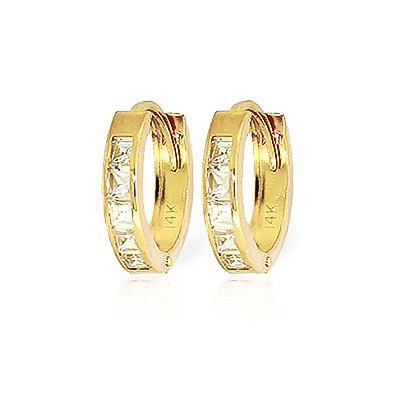 Cubic Zirconia Huggie Earrings 1.1 ctw in 9ct Gold