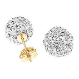 Cubic Zirconia Paris Stud Ball Earrings 4 ctw in 9ct Gold