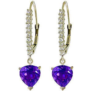 Diamond & Amethyst Laced Drop Earrings in 9ct White Gold