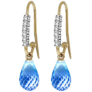 Diamond & Blue Topaz Stem Droplet Earrings in 9ct Gold