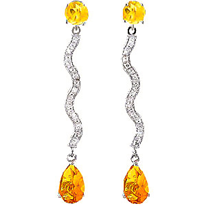 Diamond & Citrine Drop Earrings in 9ct White Gold