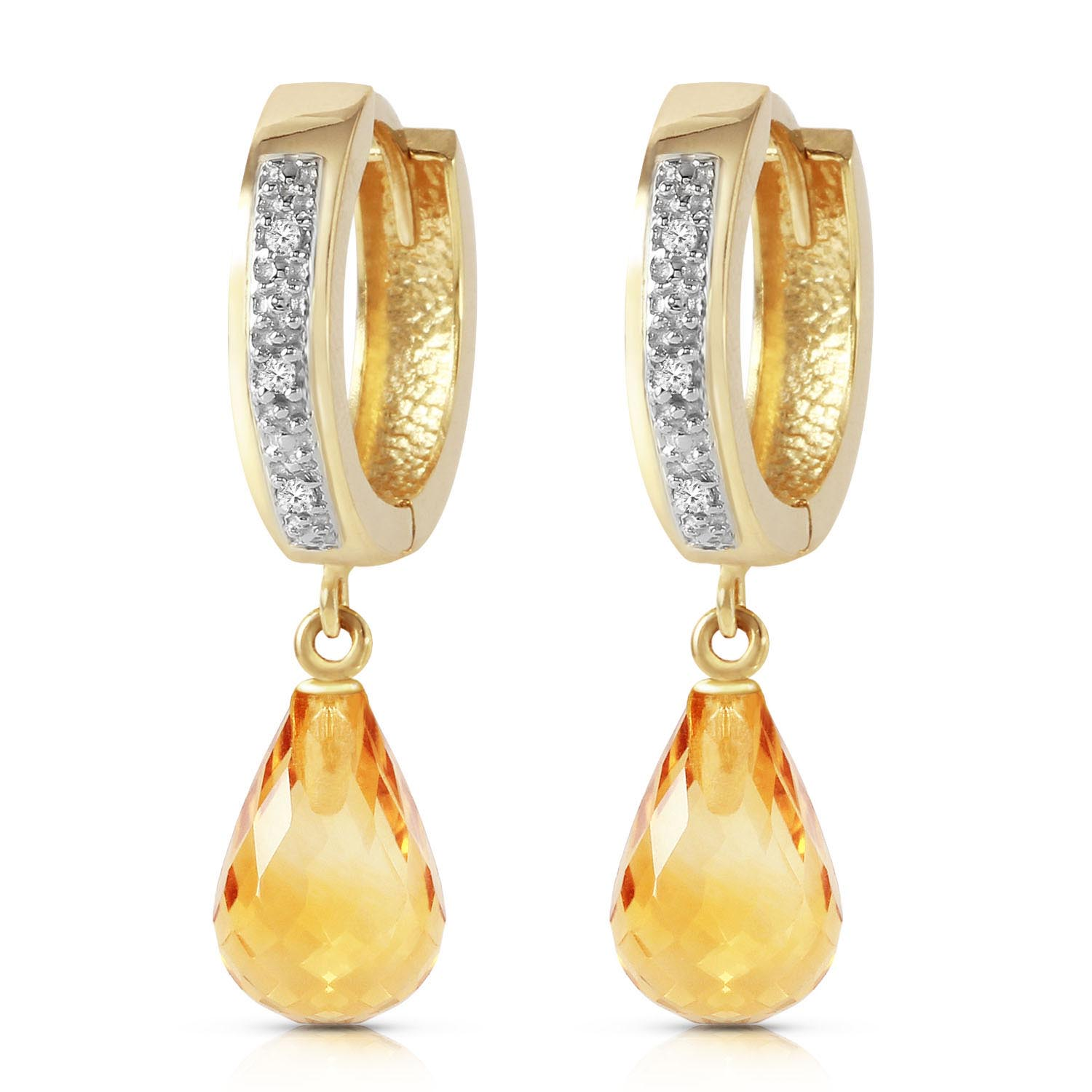 Diamond & Citrine Wreathed Earrings in 9ct Gold