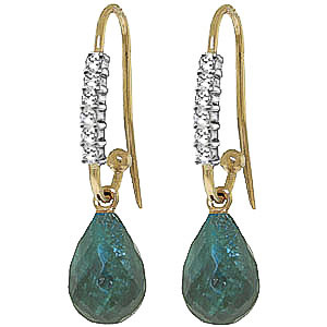 Diamond & Emerald Laced Stem Drop Earrings in 9ct Gold