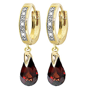 Diamond & Garnet Droplet Huggie Earrings in 9ct Gold