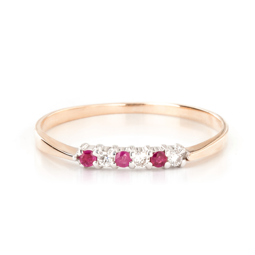 Diamond & Ruby Eternity Ring in 18ct Rose Gold