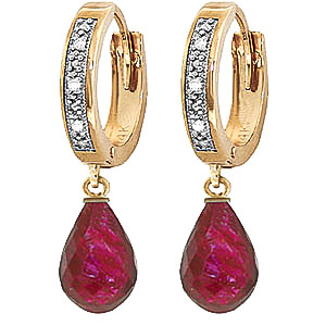 Diamond & Ruby Wreathed Earrings in 9ct Gold