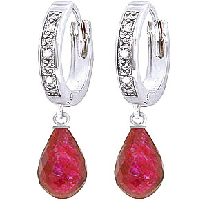 Diamond & Ruby Wreathed Earrings in 9ct White Gold