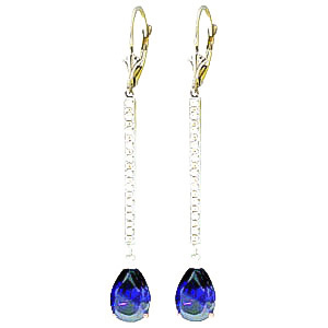 Diamond & Sapphire Bar Drop Earrings in 9ct White Gold