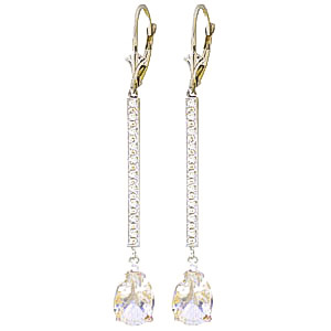 Diamond & White Topaz Bar Drop Earrings in 9ct White Gold