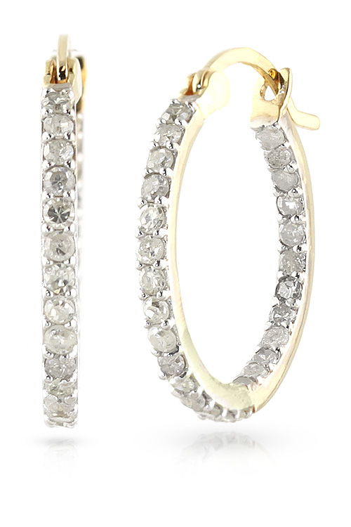 Diamond Hoop Earrings 0.75 ctw in 9ct Gold