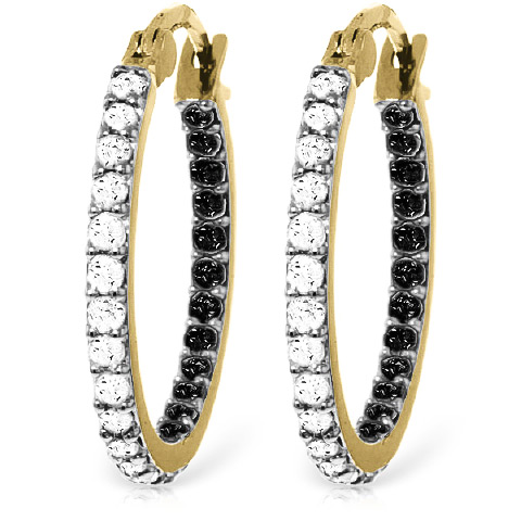 Diamond Hoop Earrings 0.81 ctw in 9ct Gold