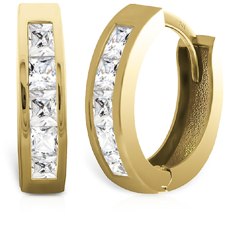 Diamond Hoop Earrings 1 ctw in 9ct Gold