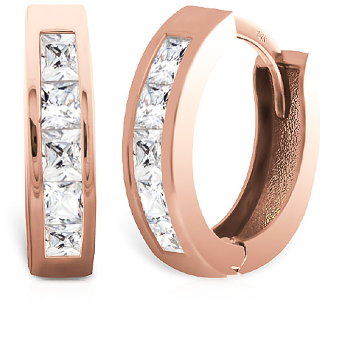 Diamond Hoop Earrings 1 ctw in 9ct Rose Gold