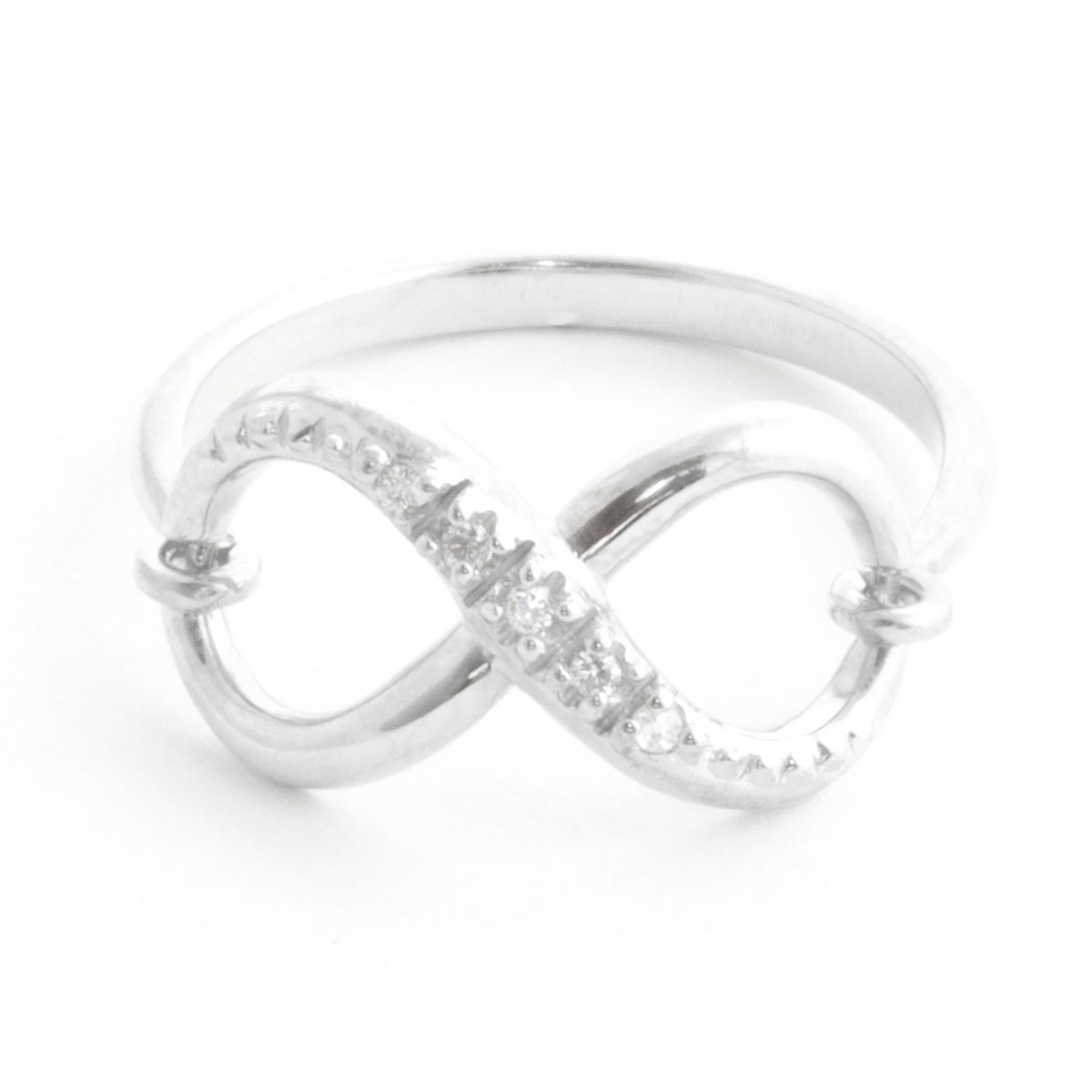 Diamond Infinite Ring 0.03 ctw in 9ct White Gold