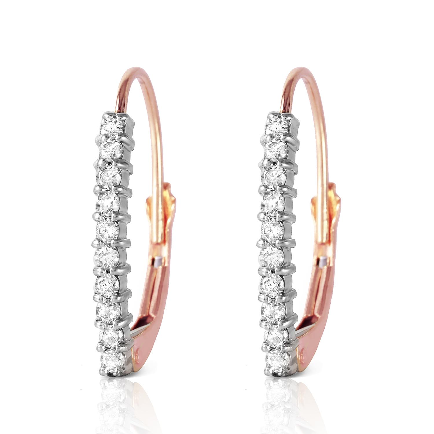 Diamond Laced Stem Drop Earrings 0.3 ctw in 9ct Rose Gold