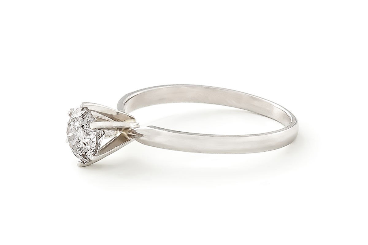 Diamond Solitaire Ring 0.75 ct in Sterling Silver