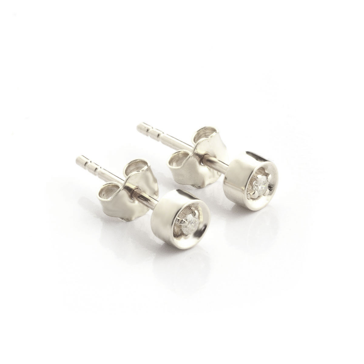 Diamond Stud Earrings 0.03 ctw in 9ct White Gold