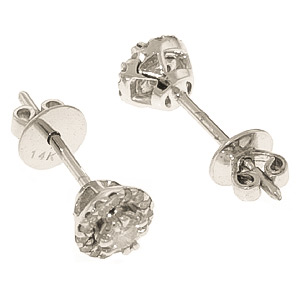 Diamond Stud Earrings 0.16 ctw in 9ct White Gold