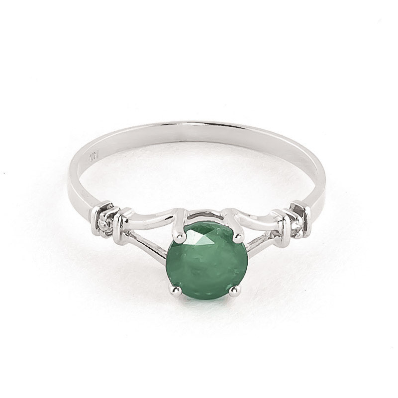 Emerald & Diamond Aspire Ring in Sterling Silver