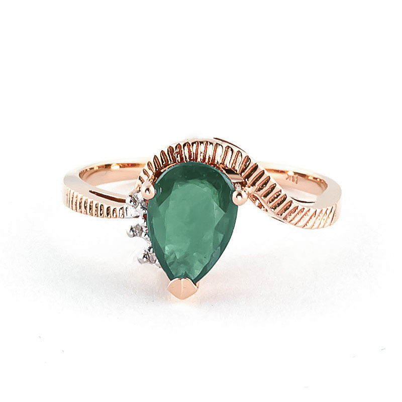 Emerald & Diamond Belle Ring in 9ct Rose Gold