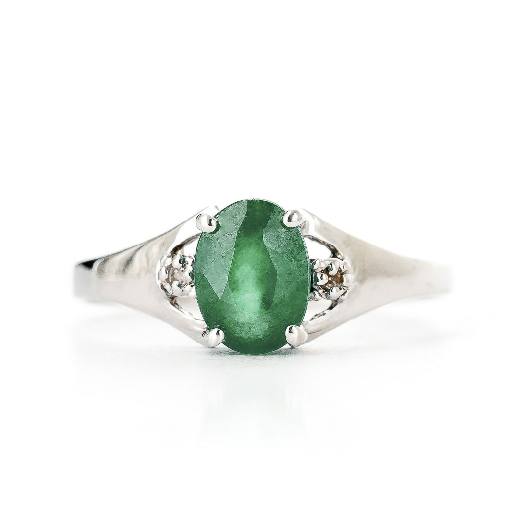 Emerald & Diamond Desire Ring in 18ct White Gold