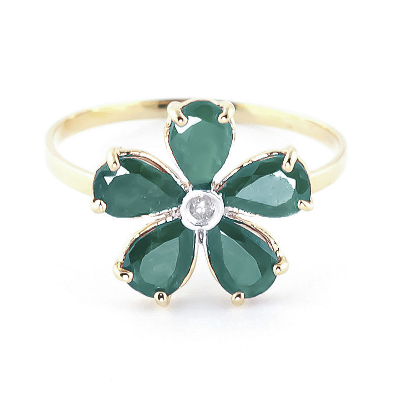 Emerald & Diamond Five Petal Ring in 18ct Gold